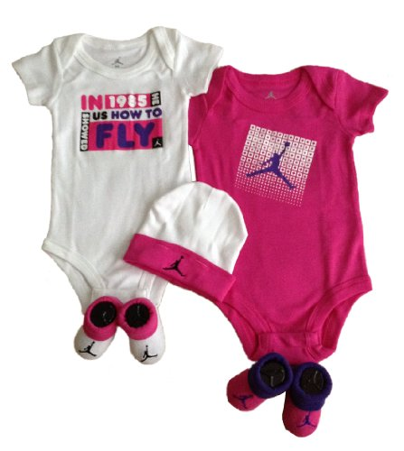 Nike Jordan Infant Boy & Girl 2 Shoulder Bodysuit, 2 Booties and 1 Cap 0-6 Months White/Red/Grey/Purple with