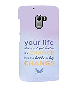 printtech Cool Quotes Life Back Case Cover for Lenovo Vibe K4 Note