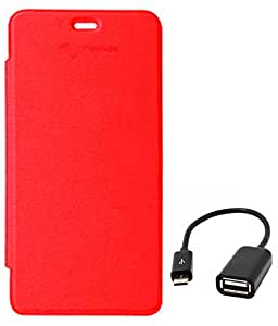 TBZ Flip Cover Case for Micromax Unite 2 A106 with OTG Cable -Red