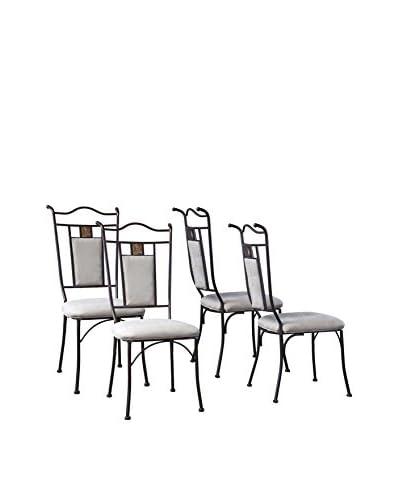 Baxton Studio Set of 4 Tirana Metal Transitional Dining Chairs, Black/Beige