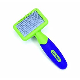 Li'l Pals Slicker Purple and Green Brush for Dogs, Extra Small