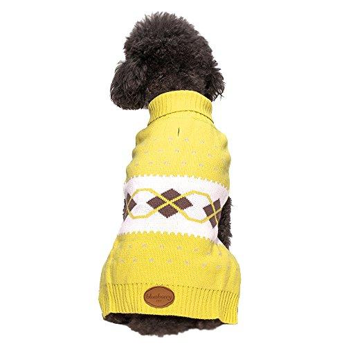 Blueberry Pet 12-Inch Scottish Argyle Turtleneck Dog Sweater, Medium, Lemongrass And White front-938593