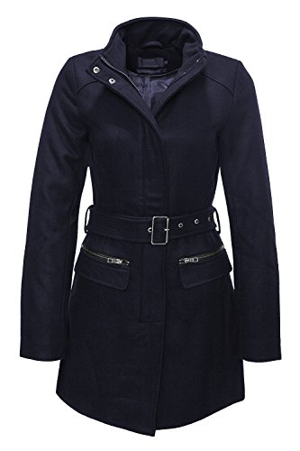 ONLY -  Cappotto  - trench - Collo mao  - Maniche lunghe  - Donna Blu scuro Large