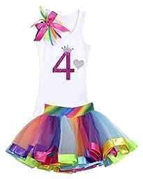 Bubblegum Divas Little Girls\' 4th Birthday Rainbow Tutu Princess Rhinestone Heart Shirt Outfit