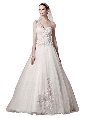 Petite One Shoulder Tulle Ball Gown Wedding Dress Style 7CKP421, Ivory, 12P