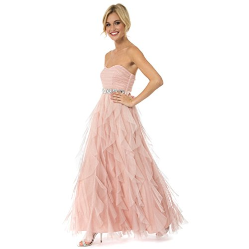 Teeze Me Blush Pink Ruffled Petal Tule Jeweled Empire Strapless Prom Dress-Size 3