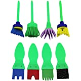 Early Learning Mini Flower Funky Brushes&sponge Painting Brushes - 2 Sets in Pack, 8 in Total