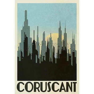 (12x18) Coruscant Retro Travel Indoor/Outdoor Plastic Sign by Poster [並行輸入品]