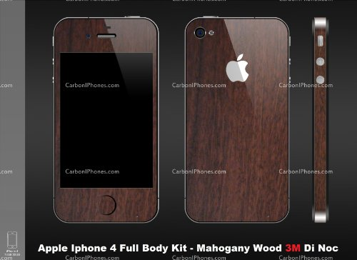 Iphone 4 Mahogany Wood Full Body Skin Kit