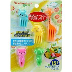 Cutezcute Bento Food Pick Fork, 15-Piece, Giraffe, Dog, Cat, Bear, Monkey (Color May Vary) front-351535