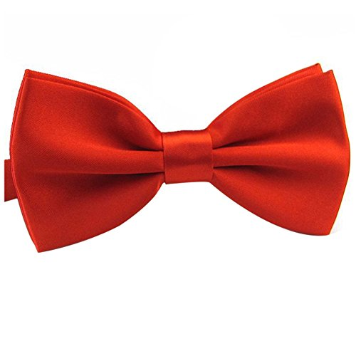 HUAYI Women's/Men's Polyester Solid Color Double-deck Adjustable Bowtie (Red Bow Tie)