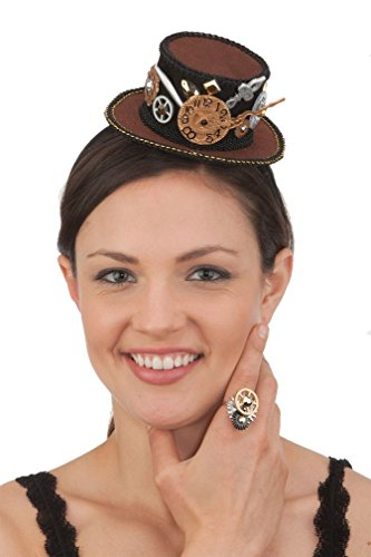 [Popcandy Mini Steampunk Hat Headband Steampunk Decorations Gears 26494] (Adult Witch Mask With Hat And Hair)