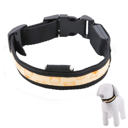 Pet Collar for Dogs and Cats with 3-Modes Orange LED Flashing Lights, Black