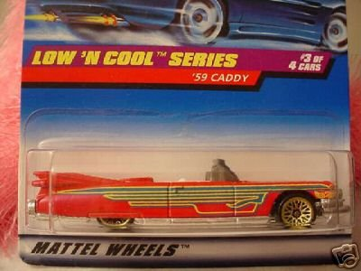 Mattel Hot Wheels 1998 1:64 Scale Low N Cool Series '59 Caddy Red 1959 Cadillac Die Cast Collector Car 3/4 - 1