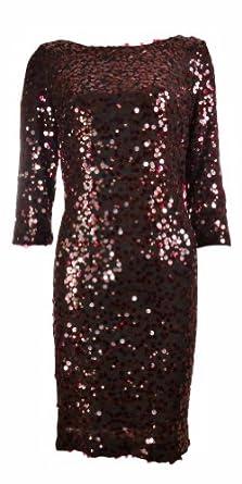 Sequin Cowl Back Dress (10, Burgandy)