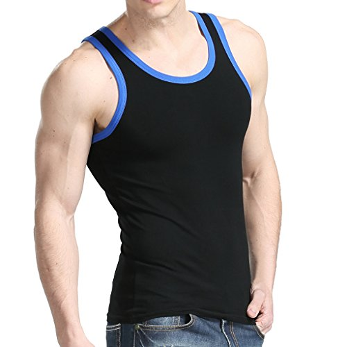 XDIAN Men's Tank Top Small(Tag size L) Black (Black Muscle)