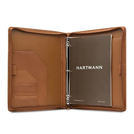Hartmann Belting Leather 3 Ring Zip Binder