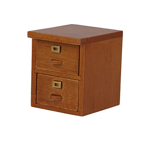 1/12 Dollhouse Miniature Office Furniture 2 Drawer Filing Cabinet in Walnut Wood (Miniature Filing Cabinet compare prices)