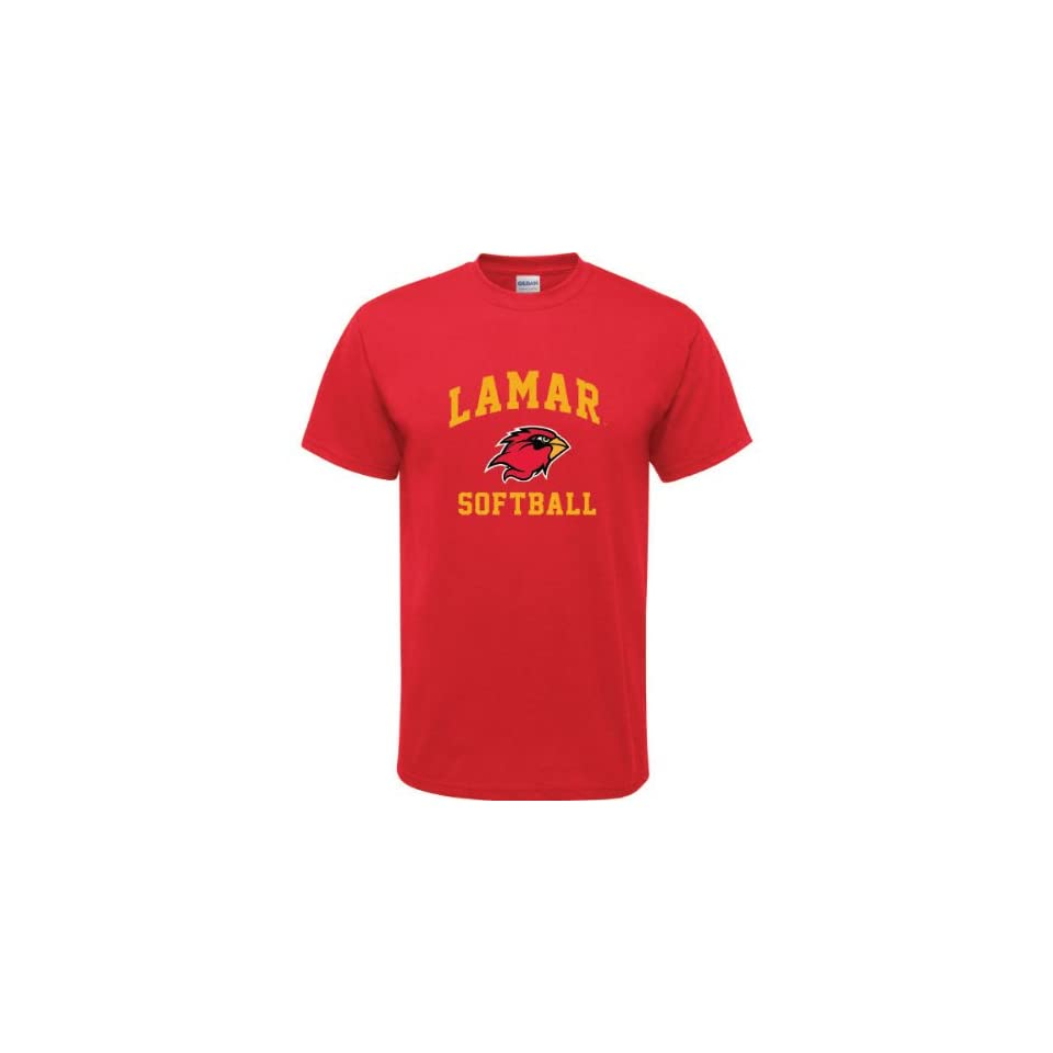 Lamar Cardinals Red Youth Softball Arch T Shirt