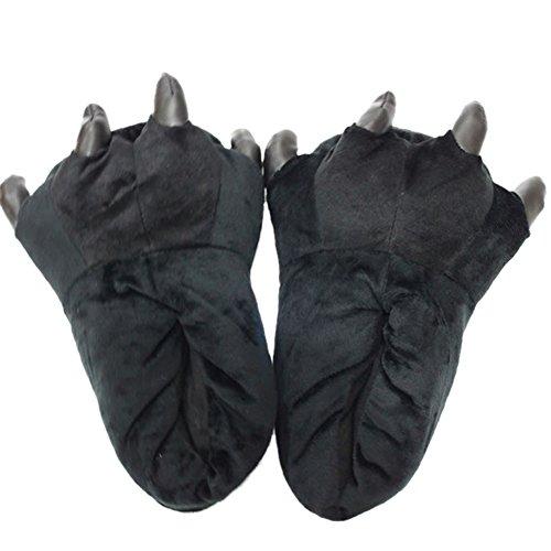 Ciabatte Invernali - Chicone Pantofole Con Animali a Zampa Invernali Unisex Donna Bambina Halloween Cosplay, Black, M (Lunghezza:26-28.5cm, per 35-38 EU)