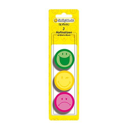 herlitz-haftnotizblock-smiley-world-rund-3-er-pack-40-blatt-neon-grun-gelb-pink
