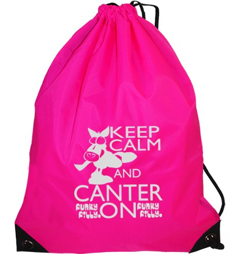 Funky Filly Pony Girls Silver Horse Keep Calm and Canter On Drawstring Bag Size 45 x 34 cms