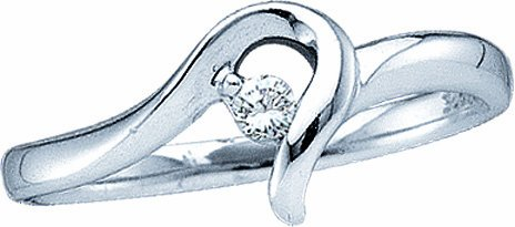 10K White Gold .05CT Brilliant Round Diamond Promise Ring-Fancy Love Knot Center - Incl. ClassicDiamondHouse Free Gift Box & Cleaning Cloth