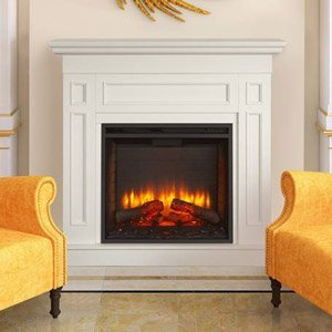 Hearth & Home Monarch Electric Fireplace Mantel Package In White- Monarch26-Wh