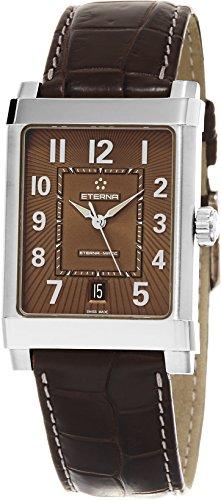 Eterna-1935eterna-matic grande hombre correa de piel color marrón reloj automático Swiss 8492.41.24.1163d
