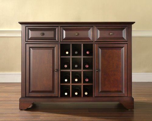 Crosley Furniture LaFayette Buffet Server/Sideboard Cabinet with Wine Storage, Vintage Mahogany (Buffet Server Antique Style compare prices)