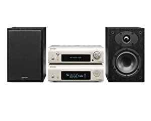 Denon D-F109DABNSPBKEK Network Streamer System with Network Player, DAB Receiver and Speaker - Silver/Black