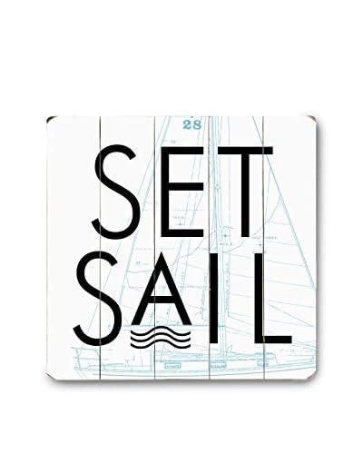"ArteHouse Set Sail Wood Wall Decor, Black/White, 18"" x 18"""