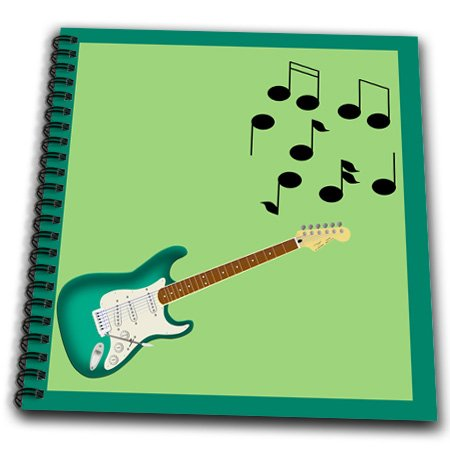 Db_23829_1 777Images Designs Graphic Design Music - Green Sunburst Electric Guitar With Musical Nottes - Drawing Book - Drawing Book 8 X 8 Inch