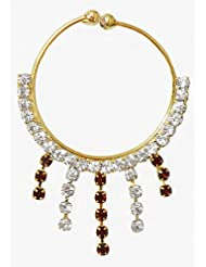 DollsofIndia White And Maroon Stone Studded Non Piercing Nose Ring - Stone And Metal - Golden