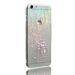 Iphone 6s Case, Ultra-thin Shining Floral Perfume Bottle Handmade Rhinestone Transparent Gradient Soft TPU Cover Case Slim Fit for Apple Iphone 6/6s 4.7 Inch Pink