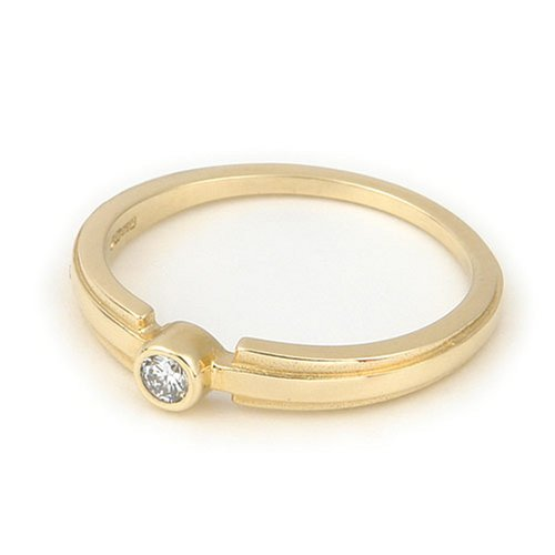 9ct Yellow Gold Diamond Engagement Ring With Round Brilliant Diamond Solitaire, 0.08 carat Diamond Weight