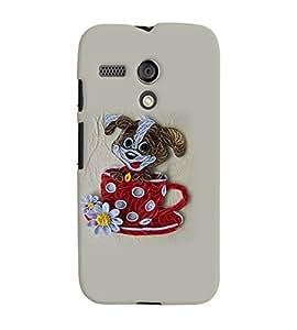Fuson Premium Cute Puppy Printed Hard Plastic Back Case Cover for Motorola Moto G