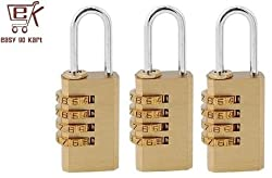 EGK 4 Digit Brass Resetable Lock Set of 3