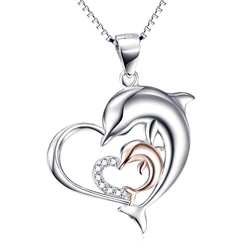Angel caller Sterling Silver Rose Gold Double Dolphin Love Heart Pendant Necklace 18