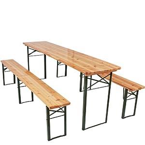 Ensemble table et bancs pliables - en bois - table : 220 x 50 x 76,5 cm (L x l x H) - bancs : 220 x 25 x 46,5 cm (L x l x H)