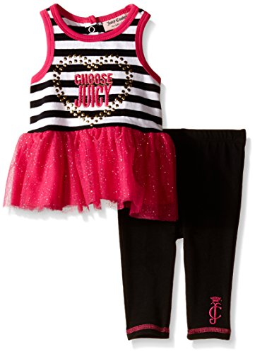 Juicy Couture  Girls' Jersey Top with Glitter Knit Mesh and Black Leggings, Multi, 6-9 Months
