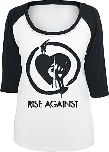 Rise Against Heart Fist Manica lunga donna bianco/nero XL