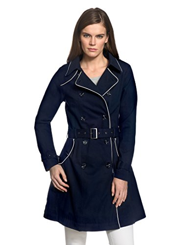 VB Donna Cappotto Trench Con rilegatura in contrasto colore, schede e una spalla orlo svasato Dark Blue X-Small