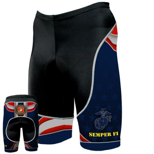 Old Glory Mens US Marines - Team Cycling Shorts - Large Dark Blue
