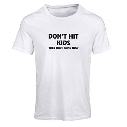 'N4084F T-shirt female Don''t hit Kids gift (Medium Bianco Nero)'