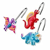 Dinosaur Friends Kids Colorful Bathroom Shower Curtain Hooks (Set of 12)