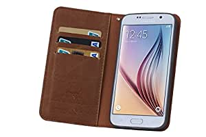 Galaxy S6 Case, DeeXop Premium Leather Case,Folio Flip Corrected Grain Leather Case, [3 Card Slot] ,With Folding Stand for Samsung S6,Wallet Case With Slim Design and Lightweight, Brown