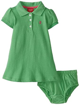 Izod Baby-Girls Infant Girl Solid Pique Polo Dress with Diaper Cover, Green, 18 Months