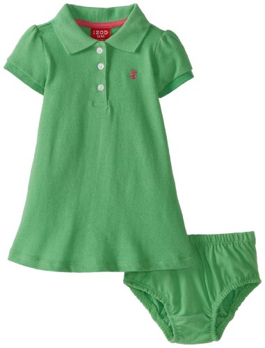 Izod Baby-Girls Infant Girl Solid Pique Polo Dress With Diaper Cover, Green, 12 Months front-60241