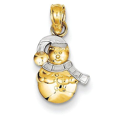 14k Gold Snowman Pendant